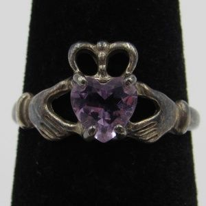 Size 6 Sterling Rustic Amethyst Promise Band Ring